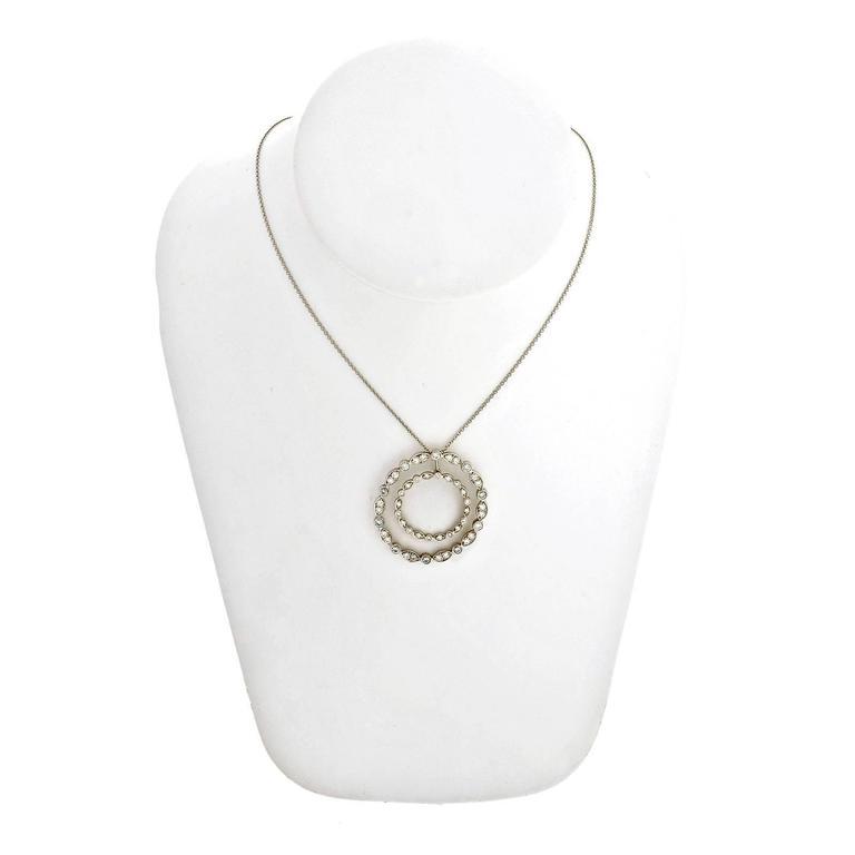 Tiffany & Co. Diamond Platinum Swing Circle Pendant Necklace For Sale 1