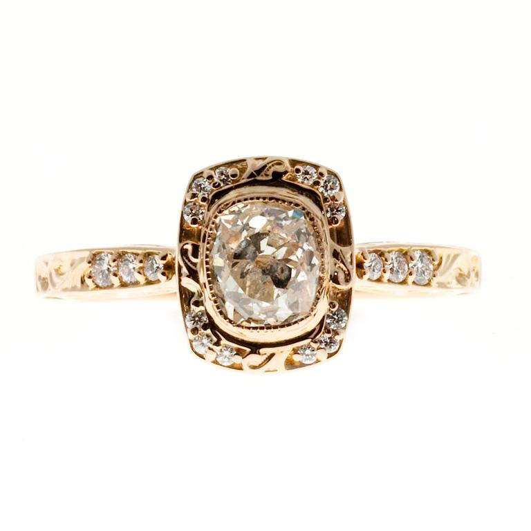 Peter Suchy Diamond Halo Gold Engagement Ring 2