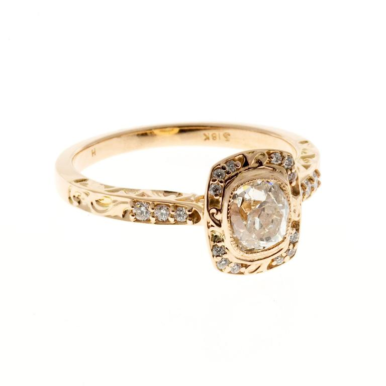 Peter Suchy Diamond Halo Gold Engagement Ring 5