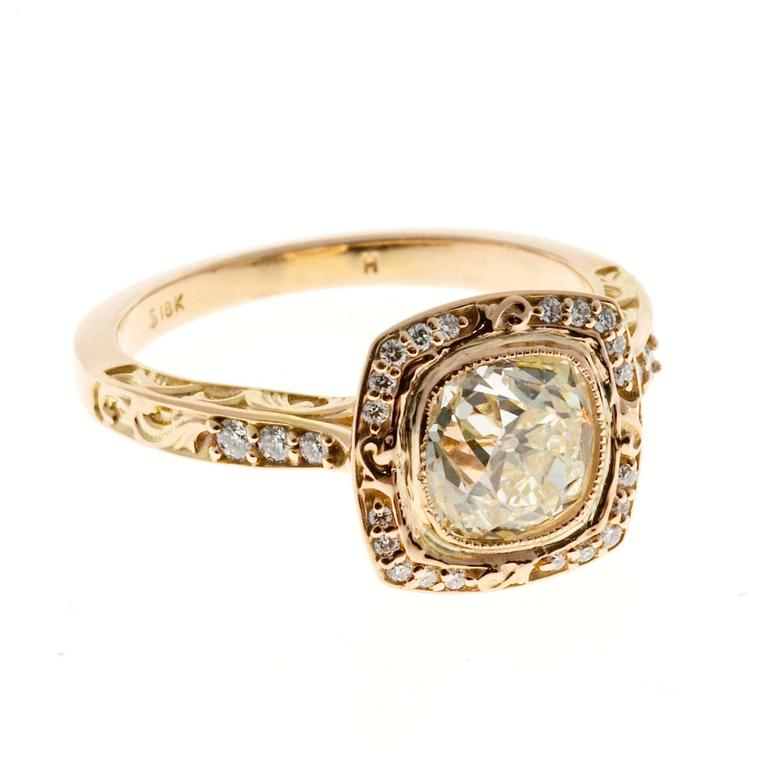 Peter Suchy Diamond Gold Halo Engagement Ring 6