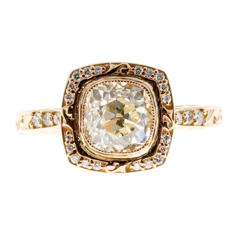 Peter Suchy Diamond Gold Halo Engagement Ring 2