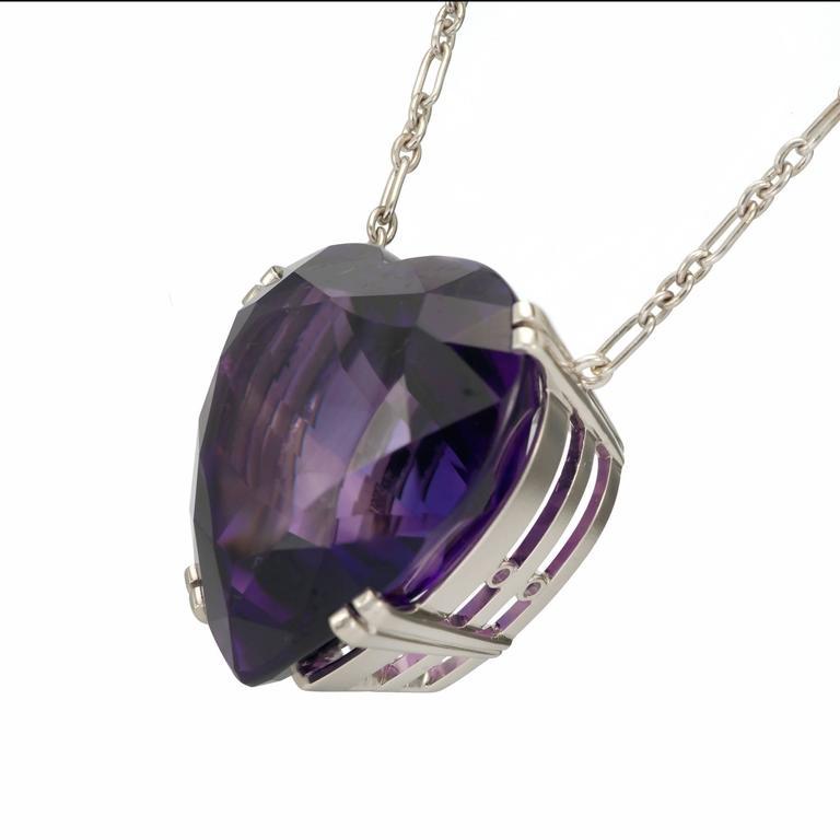 tiffany and co purple amethyst platinum heart pendant