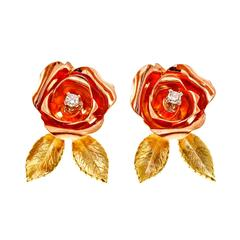 Flower Diamond Rose Green Gold Eearrings