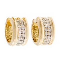 Two Row Diamond Gold Hoop Earrings