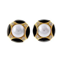 Mabe Pearl Onyx Diamond Gold Post Clip Earrings