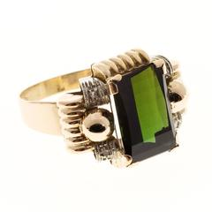 Retro Green Tourmaline Diamond Gold Ring