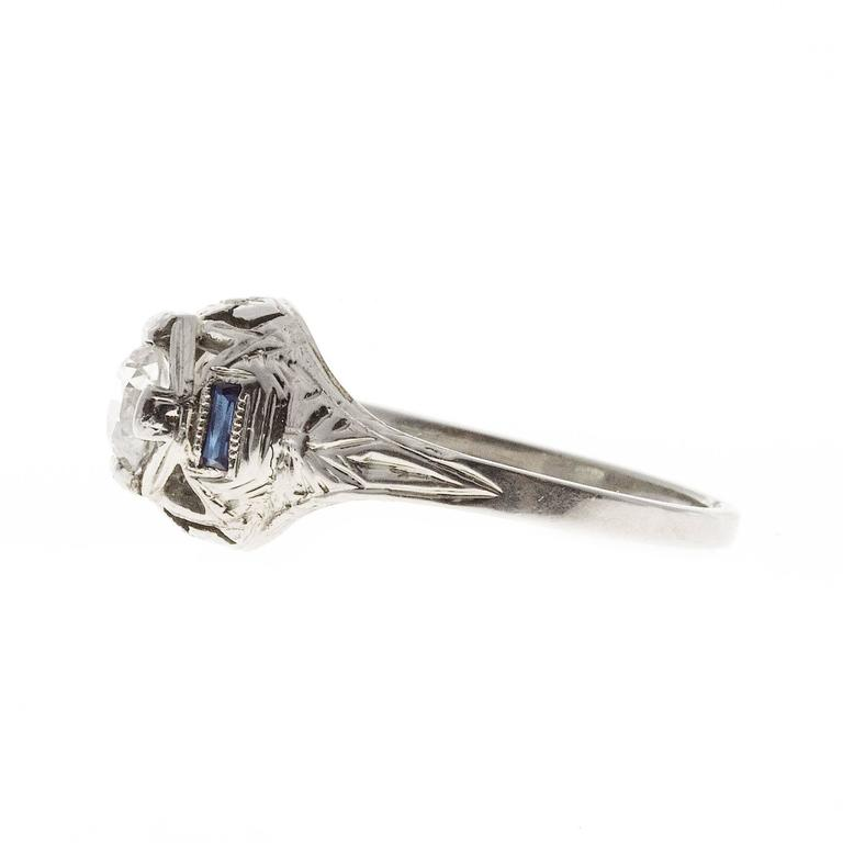1930s Sapphire Diamond Filigree Gold Engagement Ring In Good Condition For Sale In Stamford, CT
