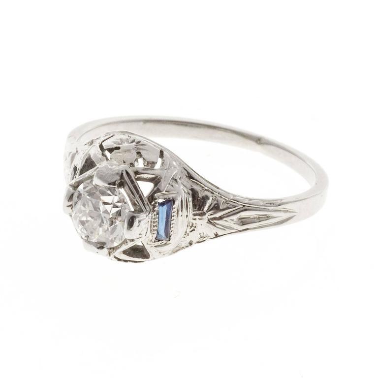 Women's 1930s Sapphire Diamond Filigree Gold Engagement Ring For Sale