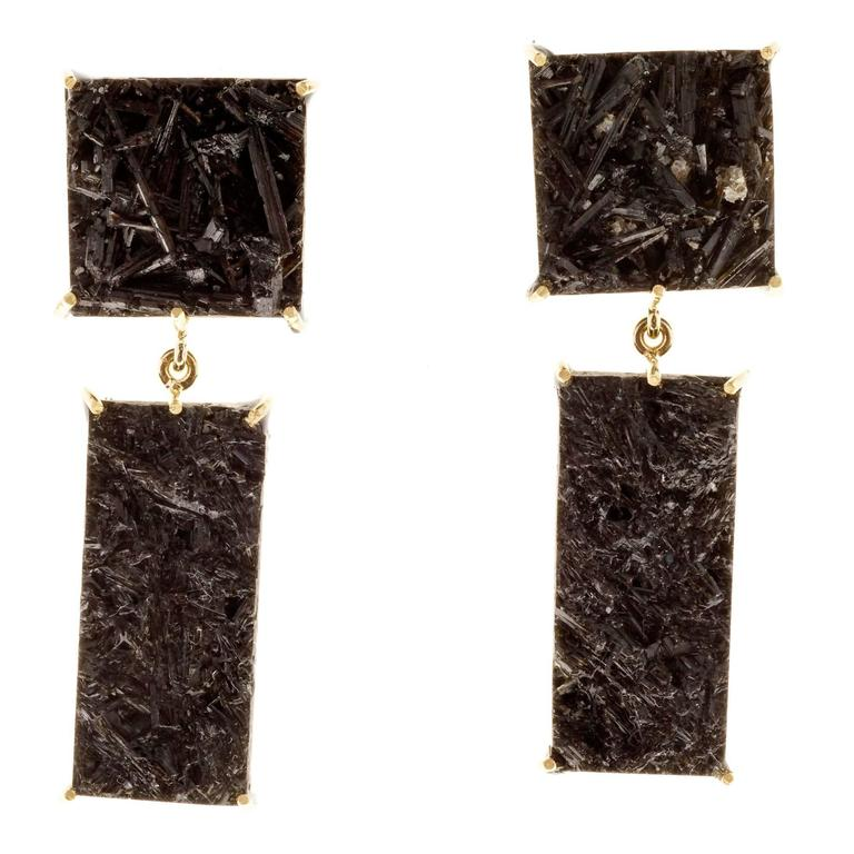 Peter Suchy Black Tourmaline Gold Dangle Earrings