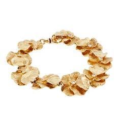 Diamond Gold Textured Flower Petal Link Bracelet