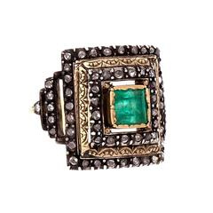 .70 Carat GIA Cert Emerald Rose Cut Diamond Silver Gold Ring
