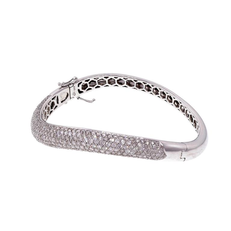 bracelets gold white certified braclets cut round item jewelry free bangles diamond zocai setting ct cuff pave bracelet bangle