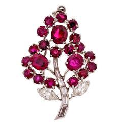 Natural Ruby Diamond Platinum Flower Pendant