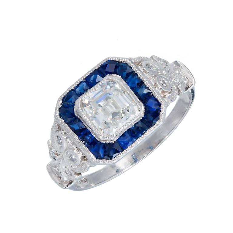 Diamond Calibre Sapphire Halo Platinum Engagement Ring