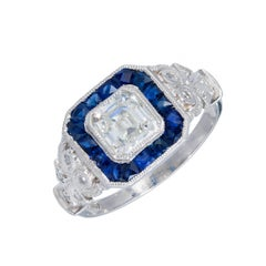 Diamond Calibre Sapphire Halo Platinum Engagement Ring