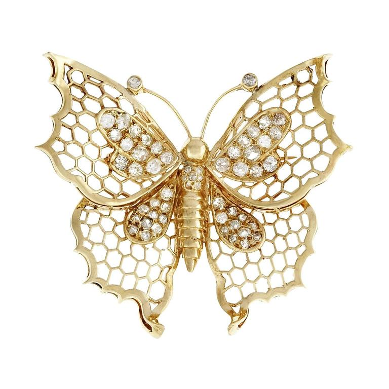 Butterfly Diamond Gold Pin