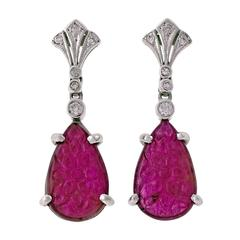Carved Ruby Diamond Gold Dangle Earrings