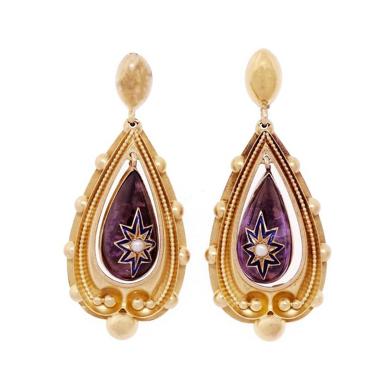Rock Crystal Foil Back Pearl Victorian Gold Dangle Earrings For Sale