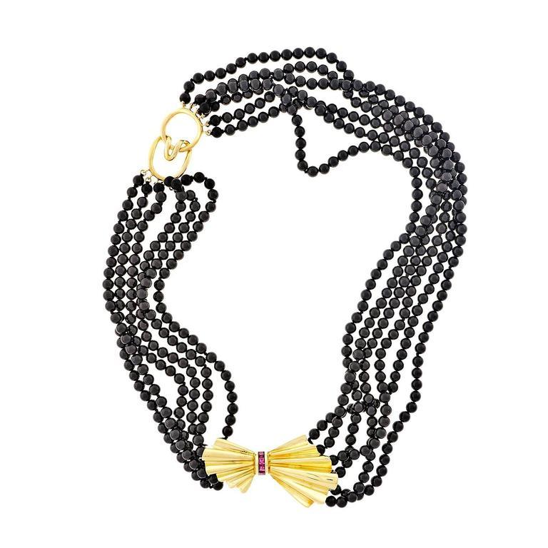 Tiffany & Co. Ruby Onyx Gold Bow Necklace
