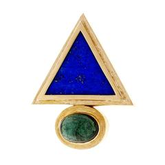 Lapis Triangle Tourmaline Gold Pendant Pin Enhancer