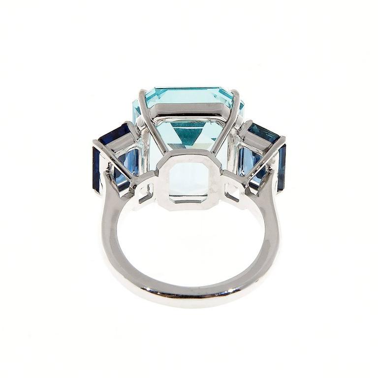Natural Aquamarine Sapphire Platinum Three Stone Ring For Sale 1
