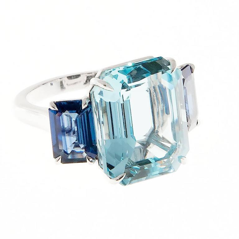 Women's Natural Aquamarine Sapphire Platinum Three Stone Ring For Sale