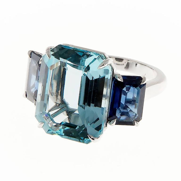 Natural Aquamarine Sapphire Platinum Three Stone Ring For Sale