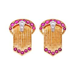 Ruby Diamond Gold Buckle Earrings
