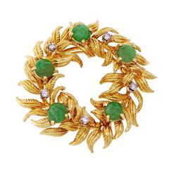 Tiffany & Co. GIA Certified Jadeite Jade Diamond Gold Wreath Brooch Pendant