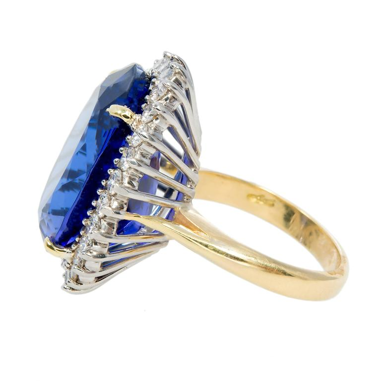 Oval Tanzanite Diamond Gold Halo Ring 3