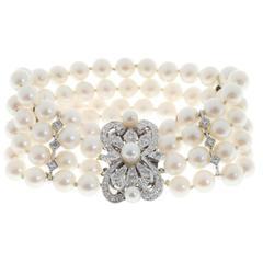 Four Row Cultured Japanese Pearl Diamond Gold Bracelet
