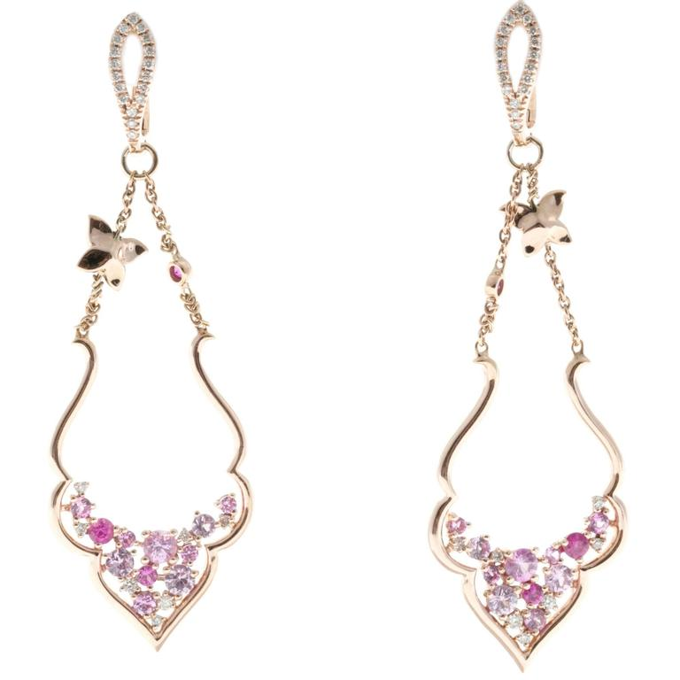 Diamond Pink Sapphire Diamond Gold Dangle Earrings