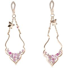 Diamond Pink Sapphire Diamond Gold Dangle Earrings