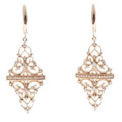 Diamond Gold Open Work Earrings