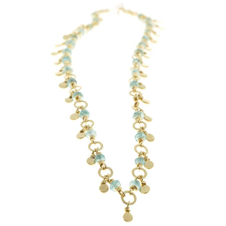 Emerald Gold Rondelle Beads Necklace