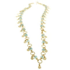 Emerald Gold Rondelle Beads Necklace 22K Gold