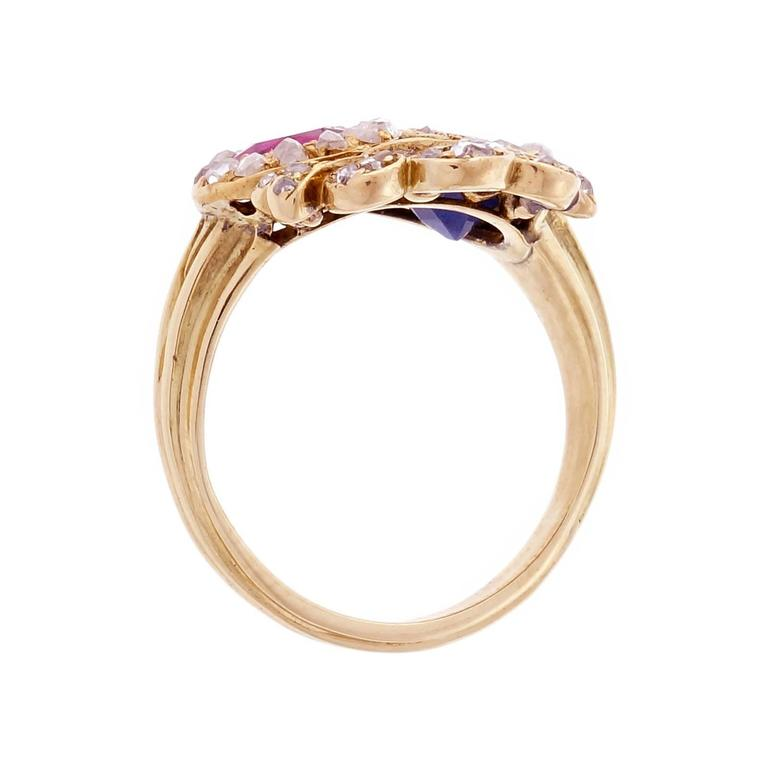 Women's Victorian Ruby Sapphire Diamond Gold Crown Ring For Sale