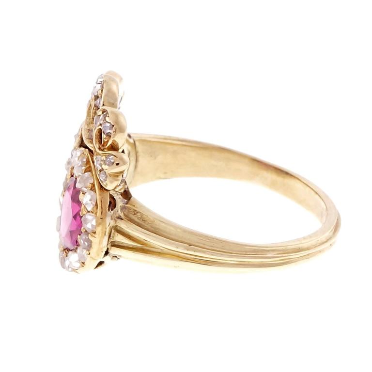 Rose Cut Victorian Ruby Sapphire Diamond Gold Crown Ring For Sale
