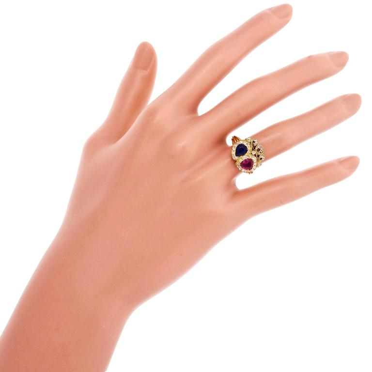 Victorian Ruby Sapphire Diamond Gold Crown Ring For Sale 1