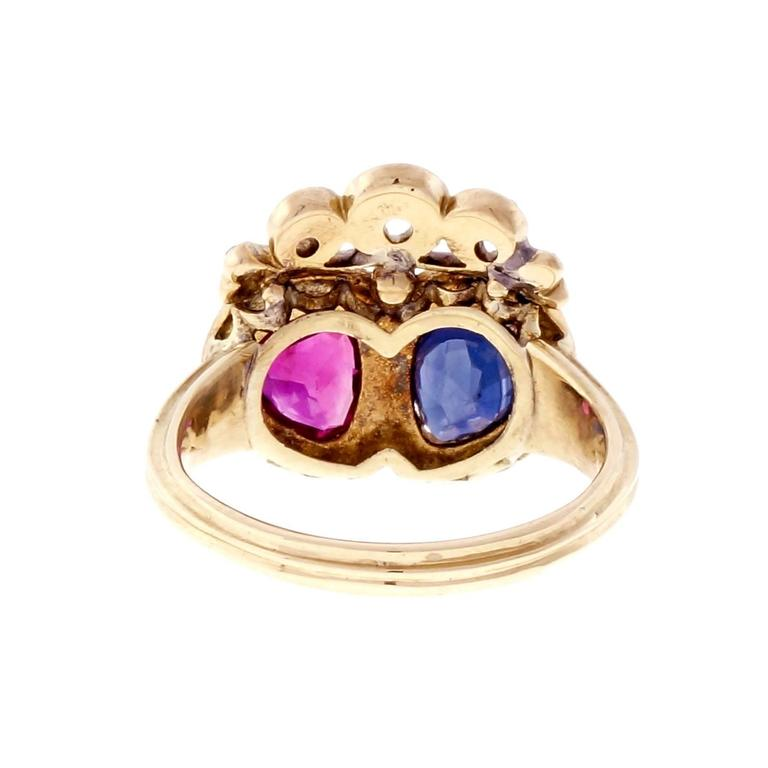 Victorian Ruby Sapphire Diamond Gold Crown Ring In Good Condition For Sale In Stamford, CT