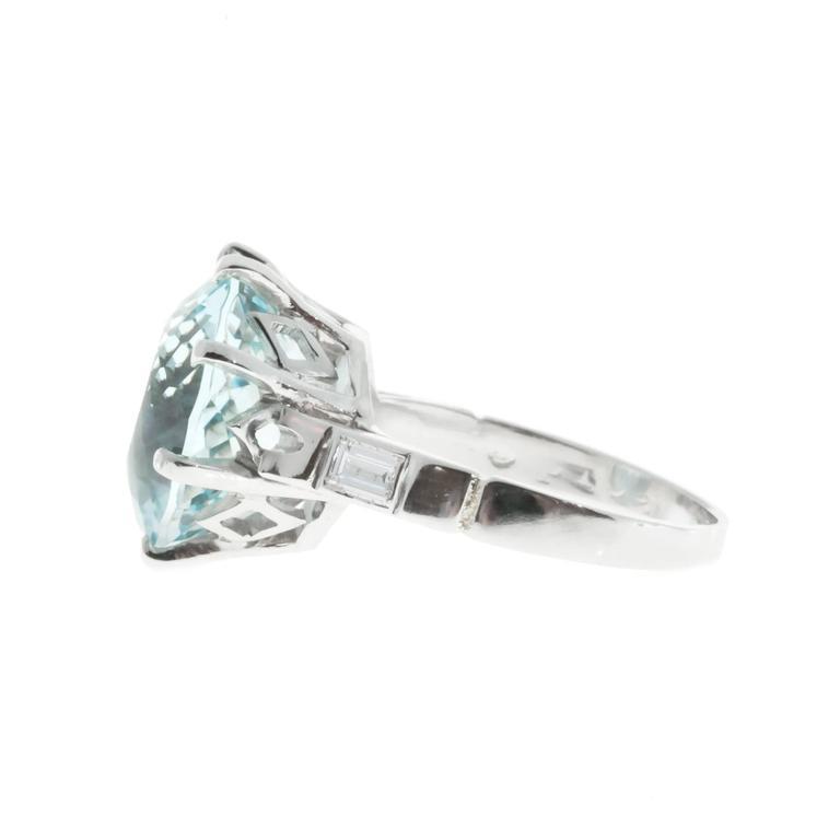 1950s aquamarine platinum ring for sale at