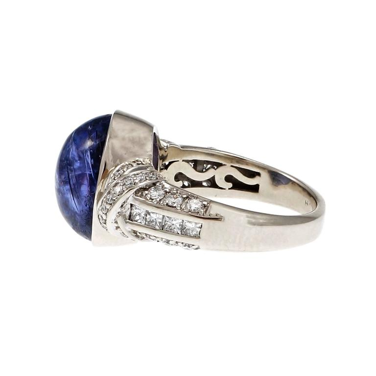 Princess Cut Oval Cabochon Tanzanite Diamond Gold Engagement Ring For Sale