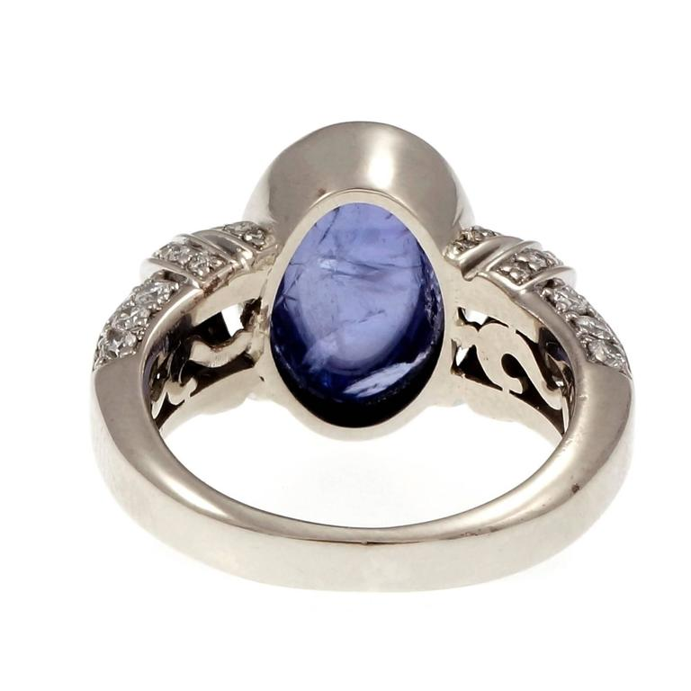 Women's Oval Cabochon Tanzanite Diamond Gold Engagement Ring For Sale
