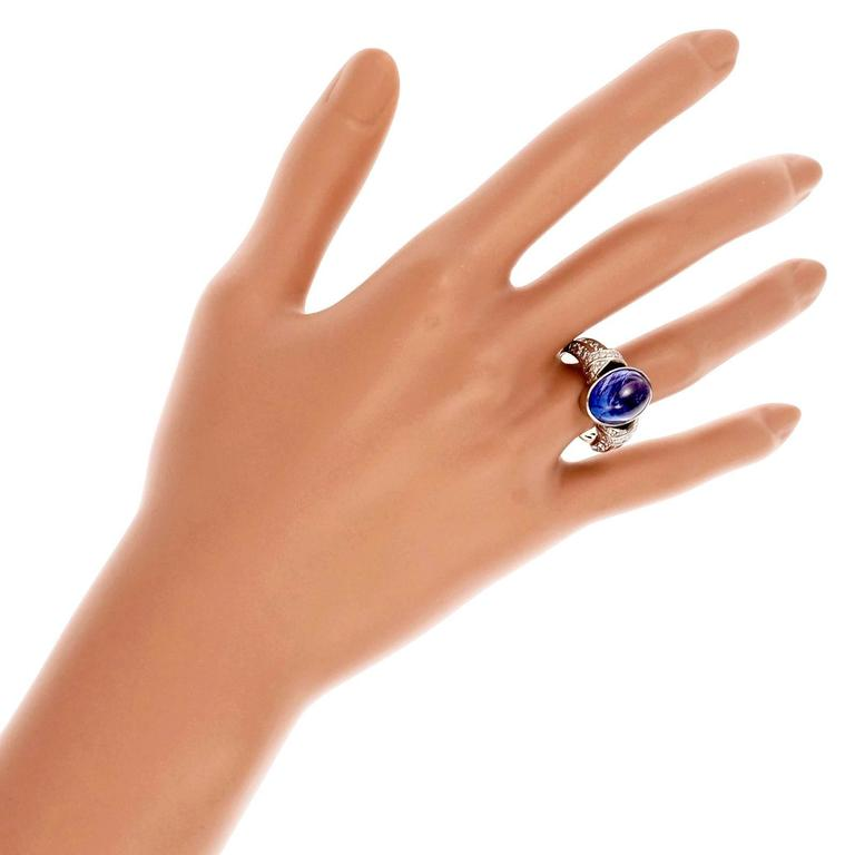 Oval Cabochon Tanzanite Diamond Gold Engagement Ring For Sale 1