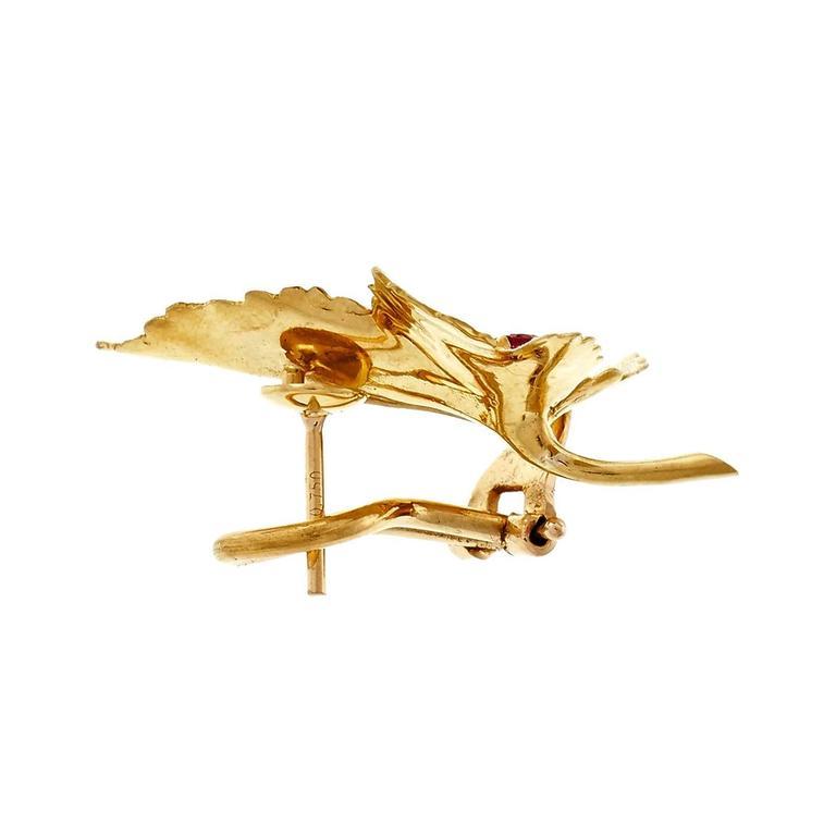 Women's Tiffany & Co. Ruby Leaf Gold Earrings  For Sale