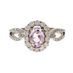 Natural Pink Sapphire Diamond Gold Engagement Ring