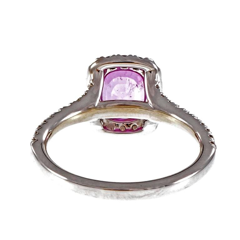 Women's or Men's Peter Suchy Hot Pink Sapphire Diamond Halo Gold Engagement Ring  For Sale