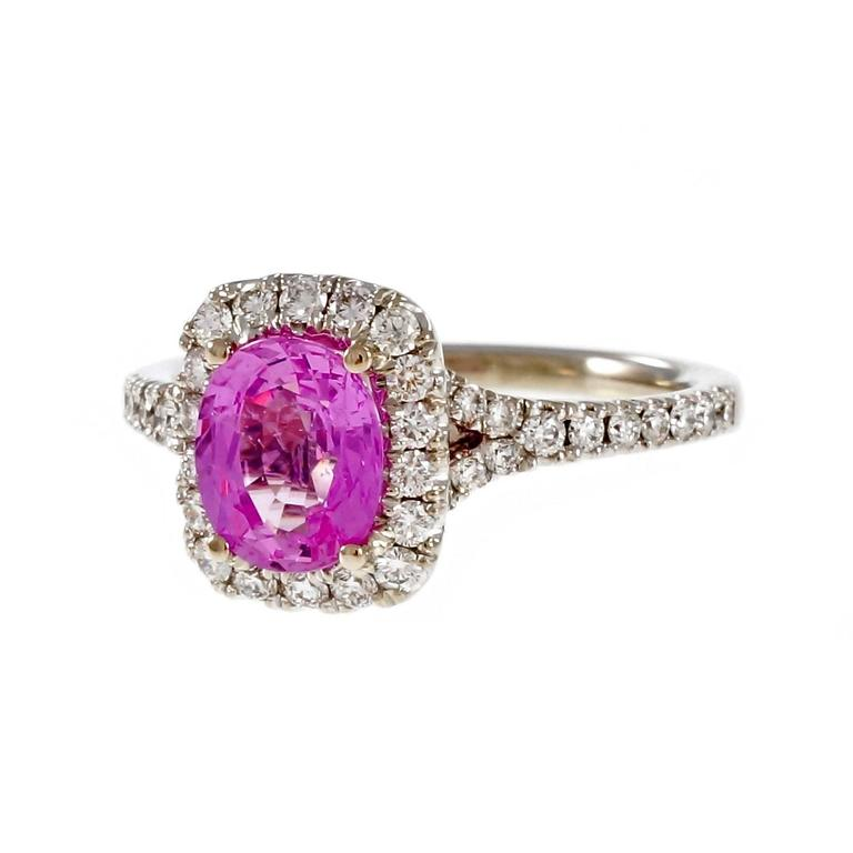 Peter Suchy Hot Pink Sapphire Diamond Halo Gold Engagement Ring  For Sale 1