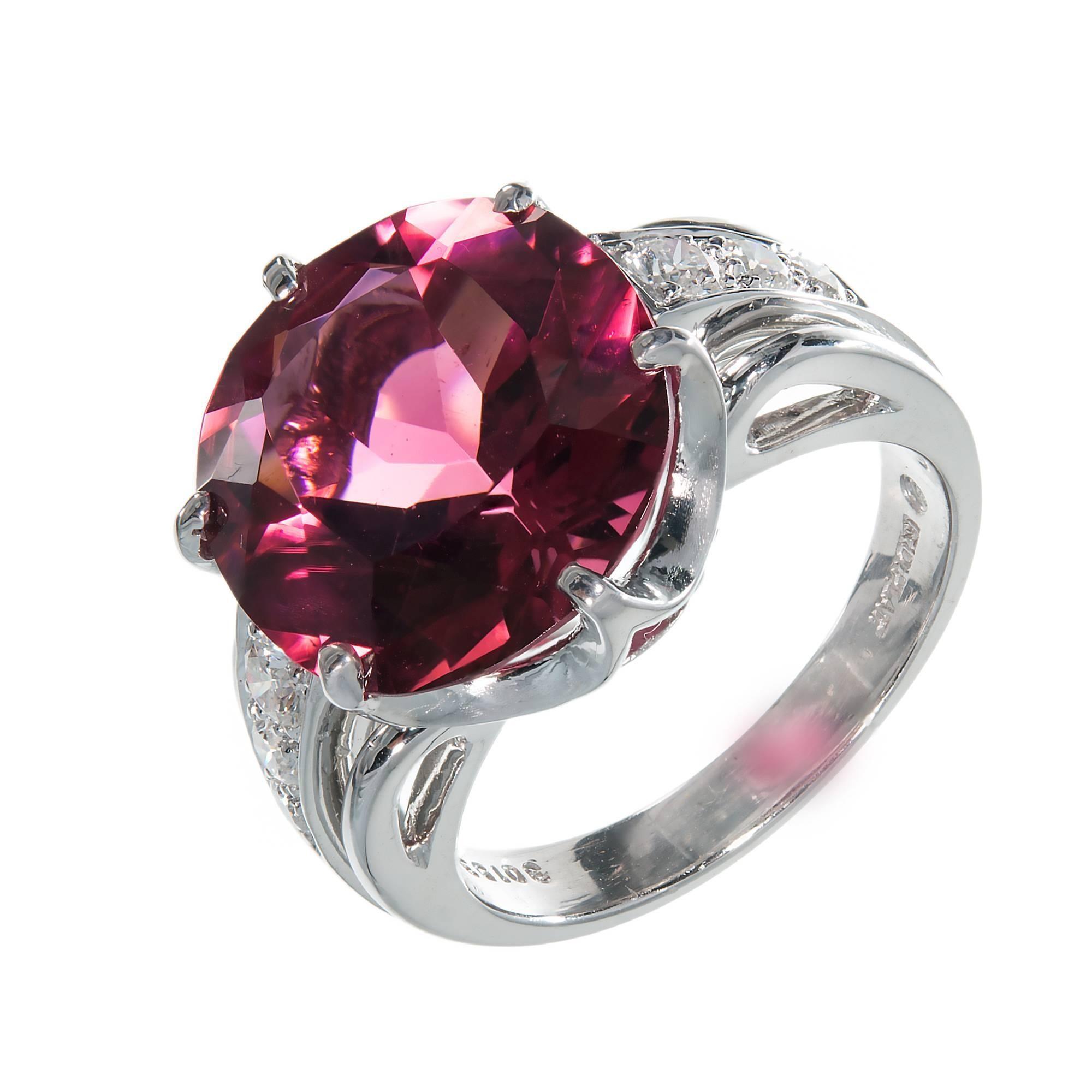8.14 Carat Round Pink Rubelite Tourmaline Diamond Platinum Cocktail Ring