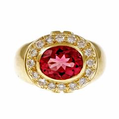 Bright Pink Tourmaline Diamond Halo Gold Ring